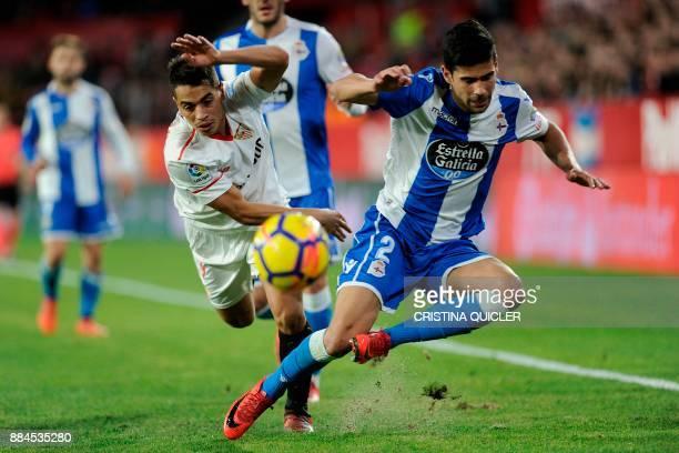 Deportivo La Coruna's Spanish midfielder Juanfran challenges Sevilla's French forward Wissam Ben Yedder during the Spanish league football match...