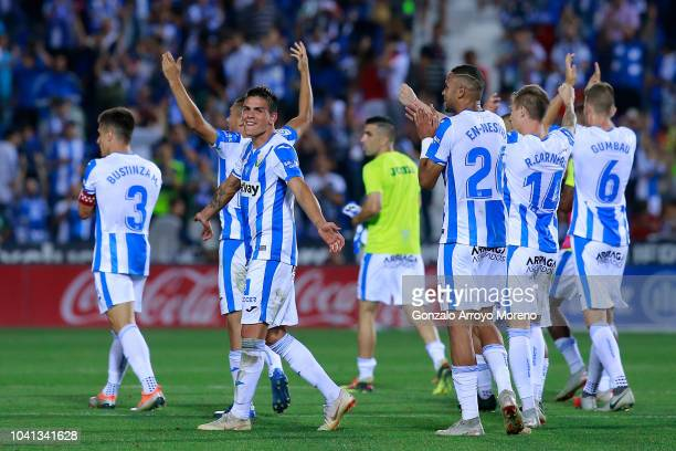 Deportivo Leganes players celebrate their victory after the La Liga match between CD Leganes and FC Barcelona at Estadio Municipal de Butarque on...