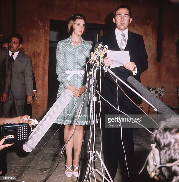 Deposed King of Greece King Constantine with his wife Queen AnneMarie giving a press conference