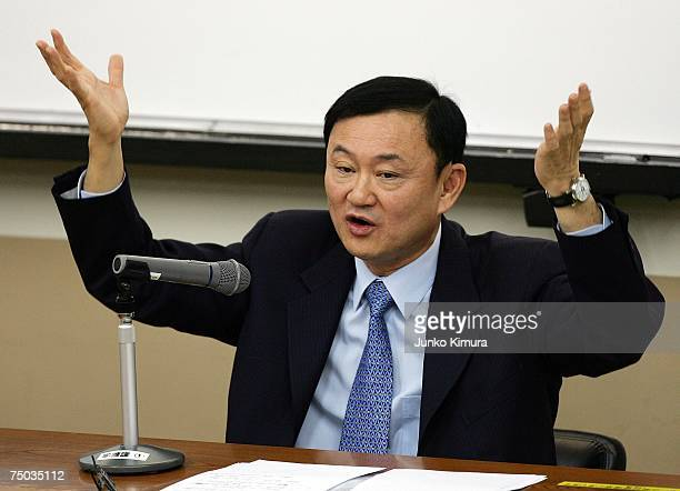 Deposed Thai Prime Minister Thaksin Shinawatra delivers a lecture as a visiting professor at Takushoku University on July 5 2007 in Tokyo Japan...