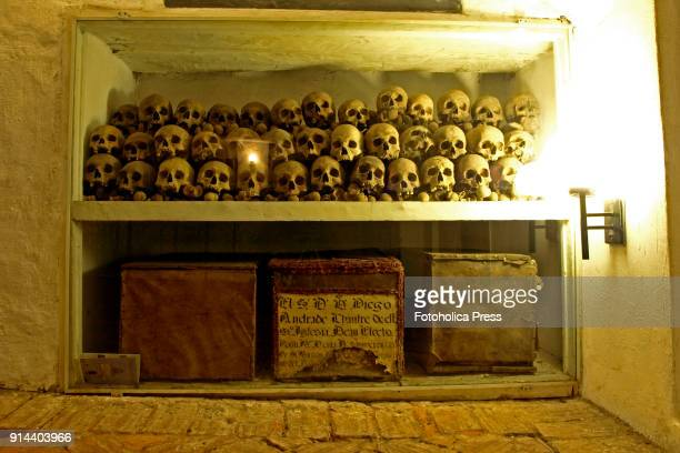 Deposit of skulls and ossuaries in a colonial funerary chamber from the 18th century in the main crypt of the Cathedral of Lima