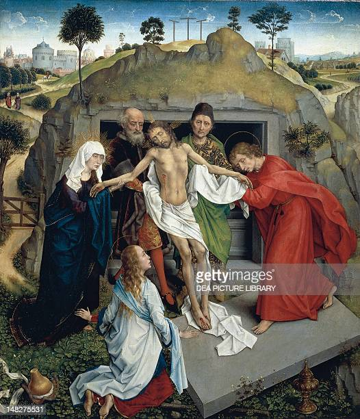 Deposition of Christ in the tomb ca 1450 by Rogier van der Weyden oil on canvas 111x95 cm Florence Galleria Degli Uffizi