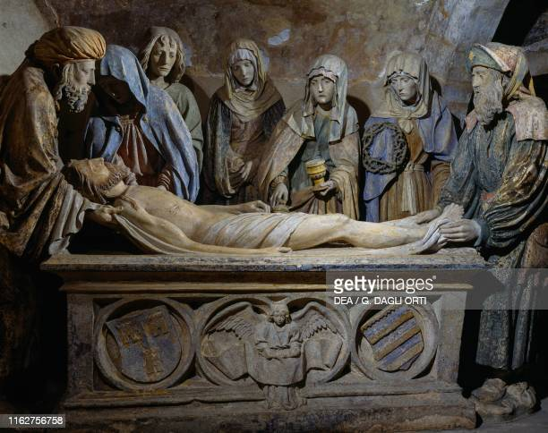 Deposition of Jesus in the sepulcher ca 1515 polychrome stone sculptor Master of Saint Martha Chaource Grand Est France