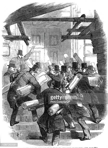 Deposits of railway plans with the Board of Trade - the rush at the door, 1845. 'The Legislature having, probably from an oversight, fixed the 30th...