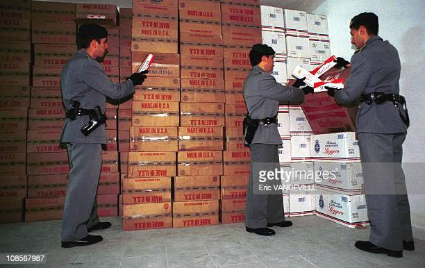 Depot hosting seized contraband cigarettes in Apulia Italy on April 18th 2000