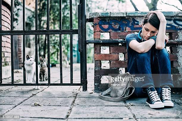 Uomo anziano depresso ragazza