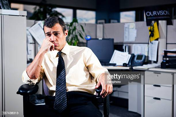 Depressed man working in the office