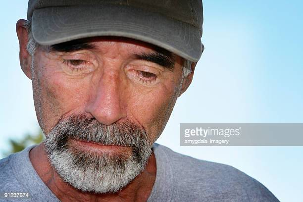 depressed senior man close up portrait - goatee stock pictures, royalty-free photos & images