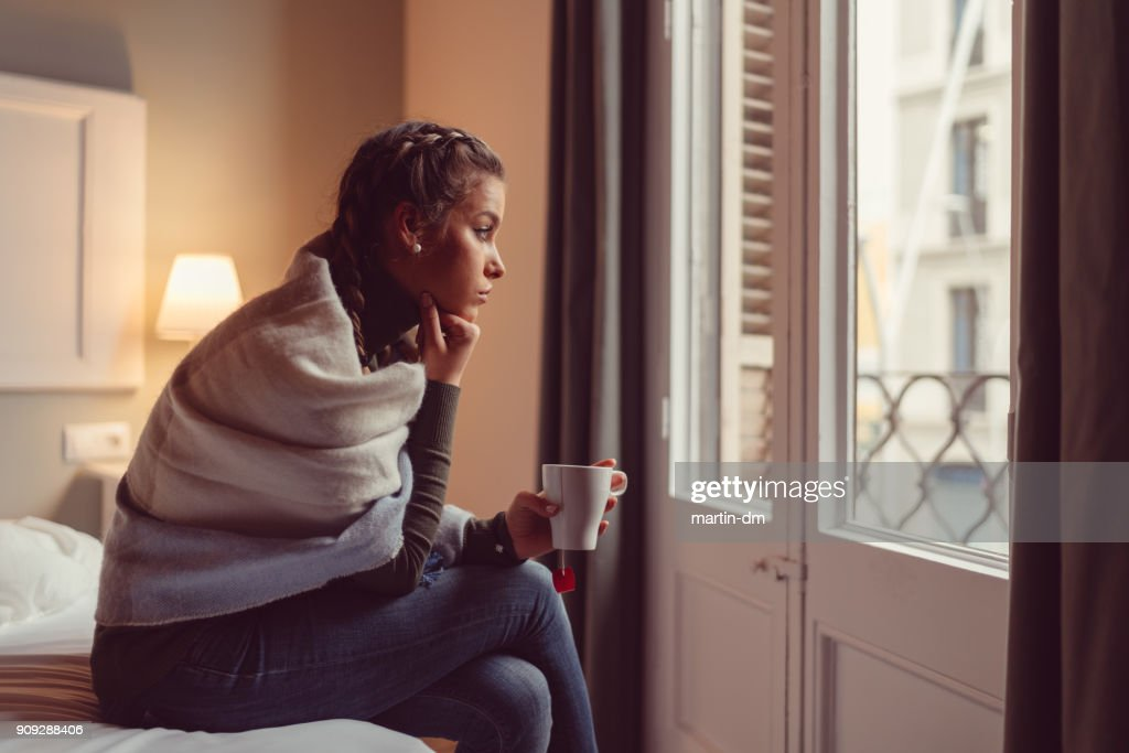 Depressed woman at home : Stock Photo