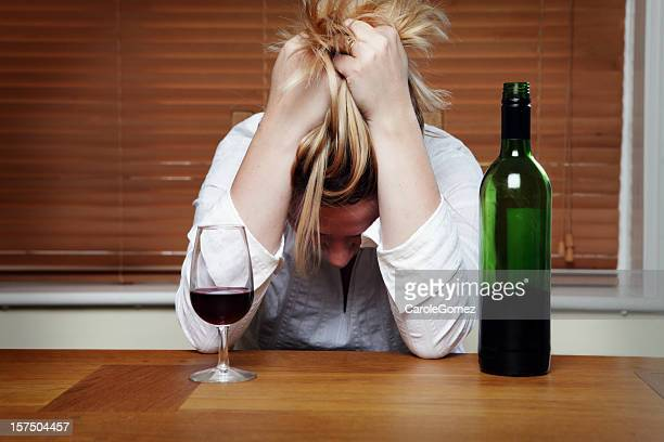 depressed woman with red wine - drunk woman stock pictures, royalty-free photos & images