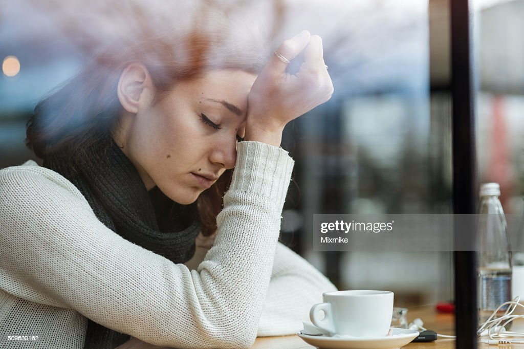 Depressed young girl : Stock Photo