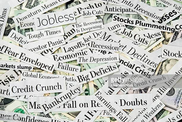 depressing economy news - xiii - newspaper headline stock pictures, royalty-free photos & images