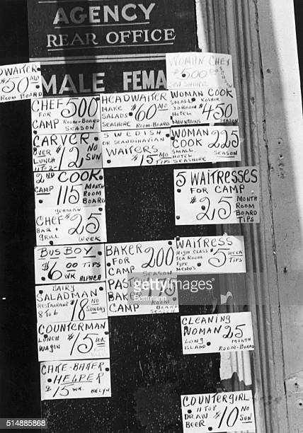 Depression in the 1930s Signs showing depressed wage scales ca 1935 Photograph BPA2# 1050