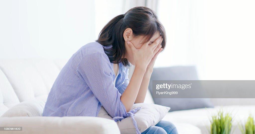 depression woman think something : Stock Photo