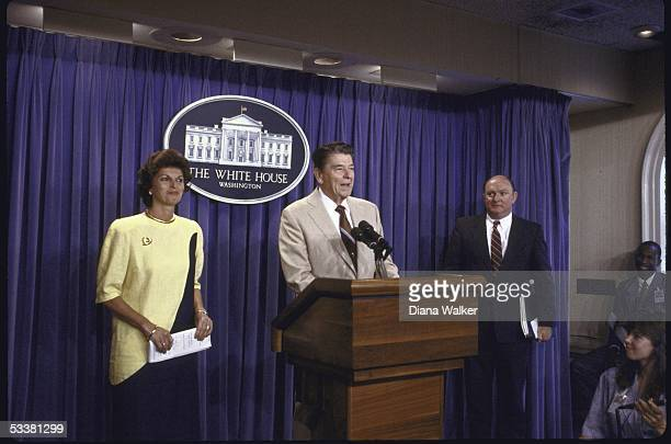 Dept. Of Labor Secretary Ann McLaughlin standing with President Ronald with Reagan and White House Press Secretary Marlin M. Fitzwater during...