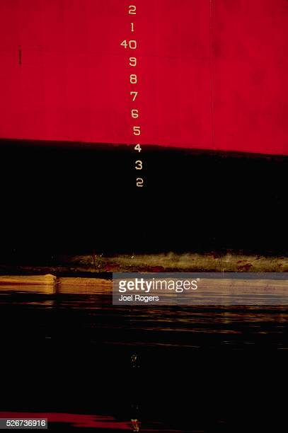 Depth marks on the hull of the USCG Icebreaker Polar Star show its load limits Port of Seattle Washington USA