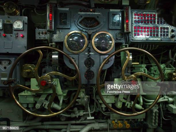 Depth rudders wheel in the control room of the BAP Abtao submarine of the Peruvian Navy The ship a Mackerel class submarine built by the Electric...
