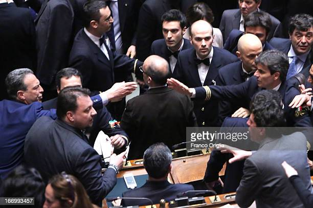 Deputies of different coalitions debate as Parliament elects a new President of Republic on April 19 2013 in Rome Italy More than 1000 politicians...