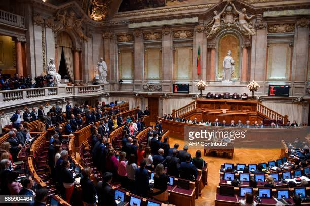 Deputies of right wing parties CDSPP and PSD stand to vote in favor of the censure motion tabled by the conservative party CDSPP at Portuguese...