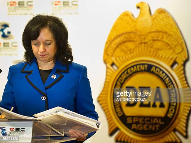 US Deputy administrator of the US Drug Enforcement Administration Michele Leonhart holds folders with documents during the XXVII International Drug...