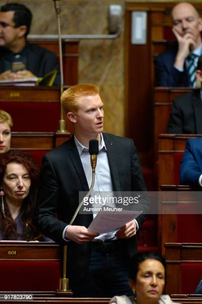 Deputy Adrien Quatennens asks a question to Ministers during the weekly session of questions to the government at Assemblee Nationale on February 13...