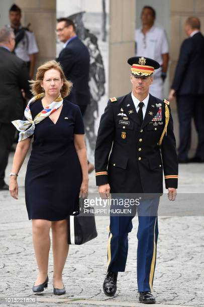US Deputy Ambassador to France Kristina Kvien walks with Commandant Colonel David Chapman in Amiens northern France on August 8 as they arrive to...