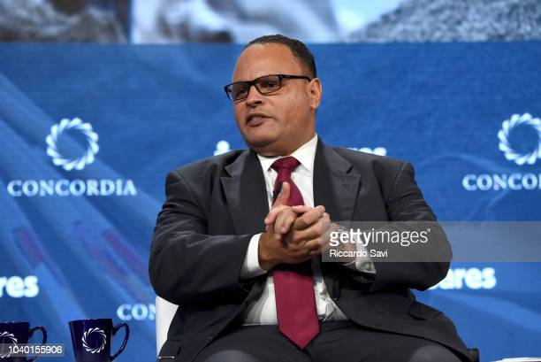 Deputy Assistant Administrator of the US Department of Homeland Security Alex Amparo speaks onstage during the 2018 Concordia Annual Summit Day 2 at...