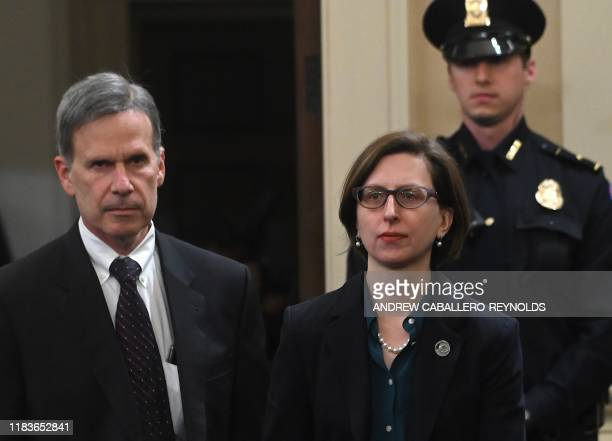 Deputy Assistant Defense Secretary Laura Cooper arrives to testify at the House Intelligence Committee impeachment inquiry on Capitol Hill in...
