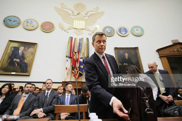 Deputy Assistant FBI Director Peter Strzok arrives for a joint hearing of the House Judiciary and Oversight and Government Reform committees in the...