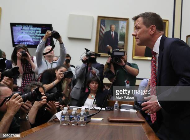 Deputy Assistant FBI Director Peter Strzok arrives to testify before a joint committee hearing of the House Judiciary and Oversight and Government...