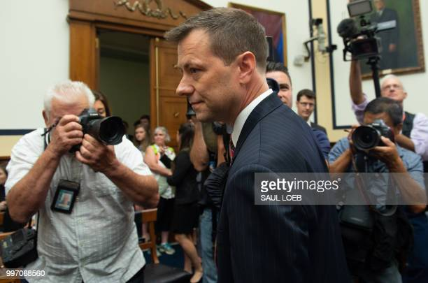 Deputy Assistant FBI Director Peter Strzok arrives to testify on FBI and Department of Justice actions during the 2016 Presidential election during a...