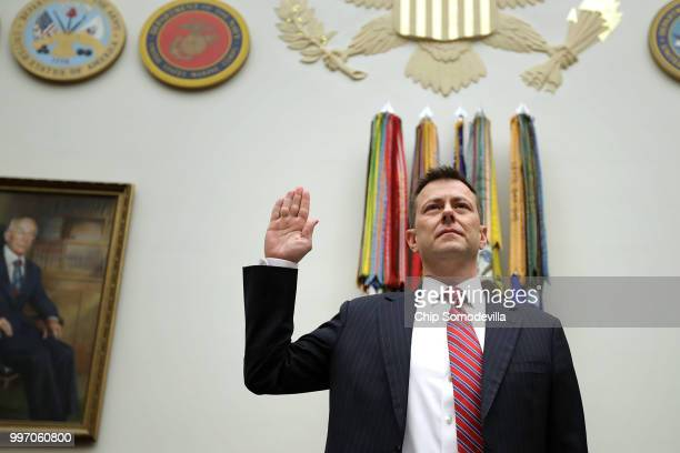 Deputy Assistant FBI Director Peter Strzok is sworn in before a joint committee hearing of the House Judiciary and Oversight and Government Reform...