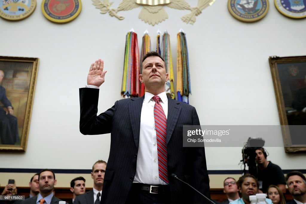 Former FBI Counterintelligence Division Deputy Assistant Director Peter Strzok Testifies At House Hearing On 2016 Election : News Photo
