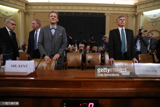 Deputy Assistant Secretary for European and Eurasian Affairs George P Kent and top US diplomat in Ukraine William B Taylor Jr wait to testify before...