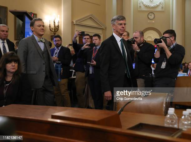 Deputy Assistant Secretary for European and Eurasian Affairs George P Kent and top US diplomat in Ukraine William B Taylor Jr arrive to testify...
