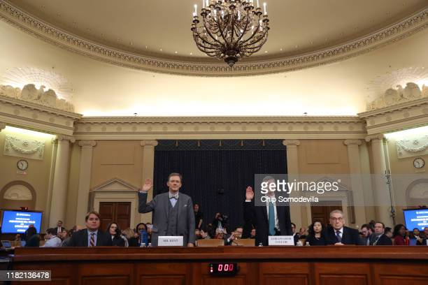 Deputy Assistant Secretary for European and Eurasian Affairs George P Kent and top US diplomat in Ukraine William B Taylor Jr are sworn in to testify...