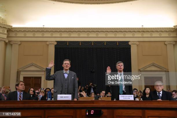 Deputy Assistant Secretary for European and Eurasian Affairs George P Kent and top US diplomat in Ukraine William B Taylor Jrare sworn in to testify...