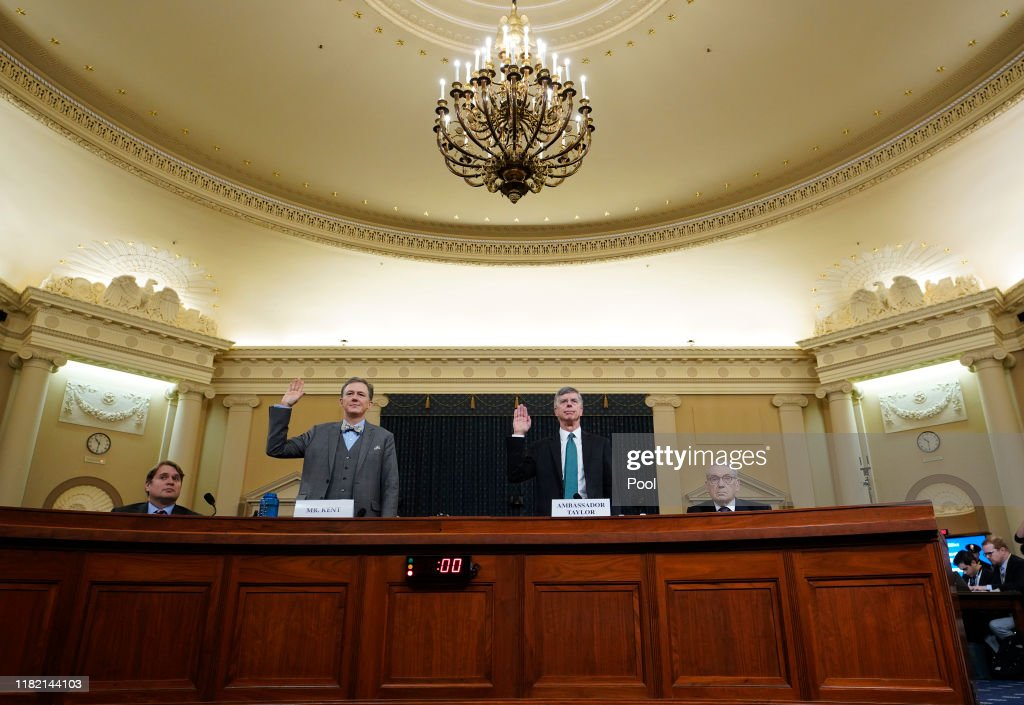 Amb. William Taylor And Deputy Assistant Secretary Of State George Kent Testify At Impeachment Hearing : News Photo