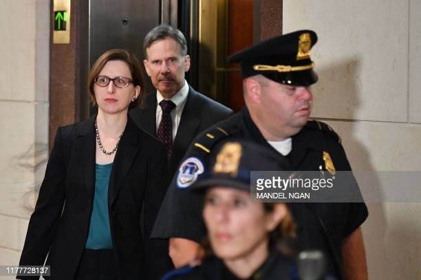 US Deputy Assistant Secretary of Defense for Russia Ukraine and Eurasia Laura Cooper arrives at the US Capitol ahead of her closeddoor deposition...