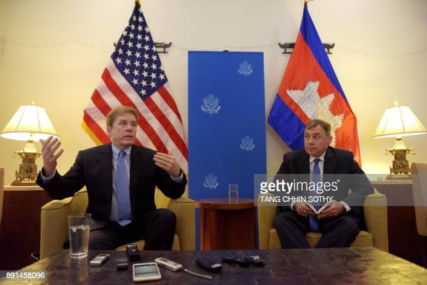 US Deputy Assistant Secretary of State for Southeast Asia Patrick Murphy speaks to the media as US Ambassador William A Heidt listens during a press...