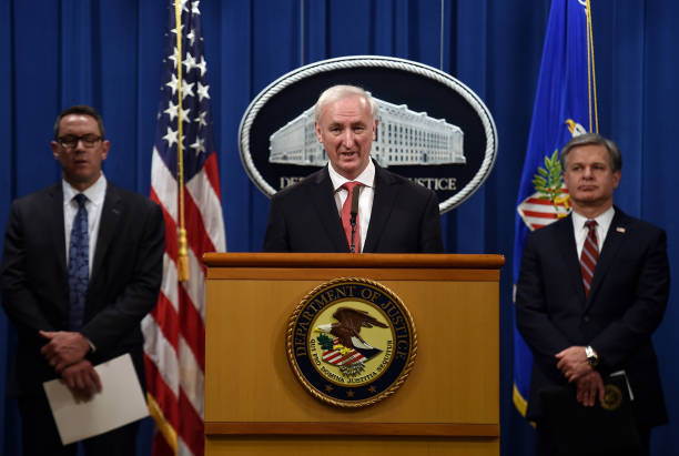 DC: Deputy Attorney General Jeffrey Rosen And Federal Law Enforcement Agencies Hold News Conference At Justice Department