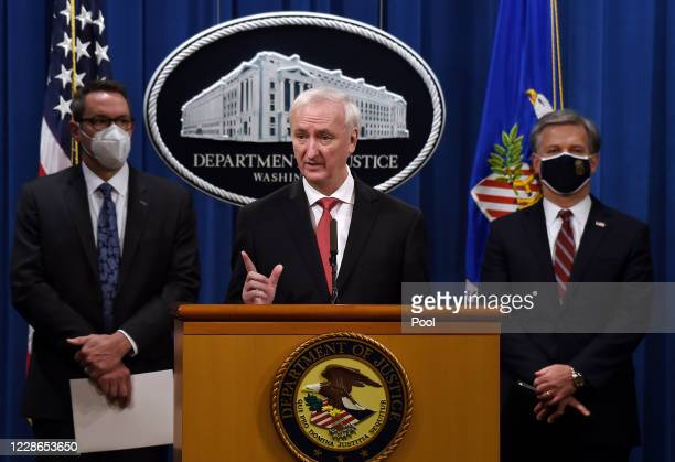 S Deputy Attorney General Jeffrey A Rosen speaks as FBI Director Christopher Wray and Immigration and Customs Enforcement acting Deputy Director...