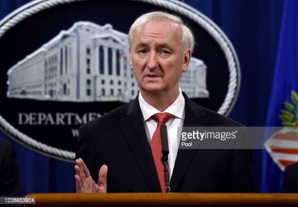 S Deputy Attorney General Jeffrey A Rosen speaks at a news conference at the Justice Department on September 22 2020 in Washington DC The officials...