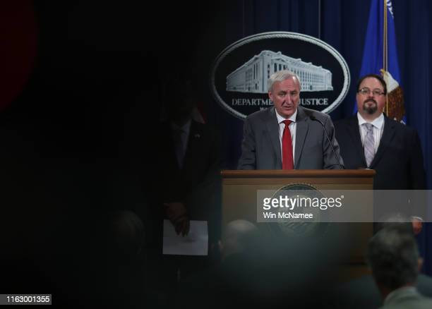 Deputy Attorney General Jeffrey Rosen speaks during a press conference at the Justice Department July 19 2019 in Washington DC Rosen announced major...