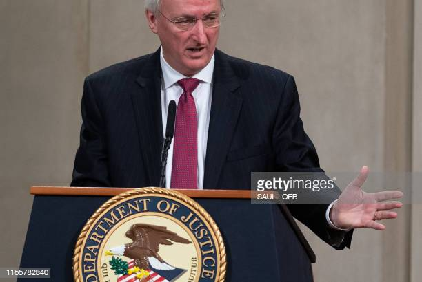 US Deputy Attorney General Jeffrey Rosen speaks during the Summit on Combating AntiSemitism at the Department of Justice in Washington DC July 15 2019
