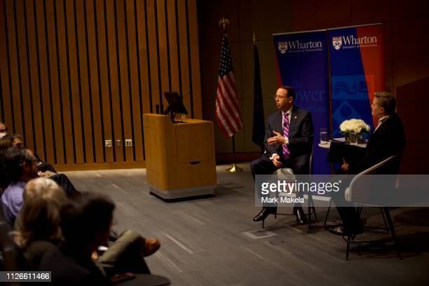 Deputy Attorney General Rod J Rosenstein speaks at the Wharton School at the University of Pennsylvania on February 21 2019 in Philadelphia...