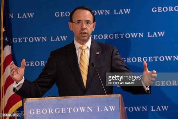 US Deputy Attorney General Rod Rosenstein addresses a symposium titled 'Cybercrime 2020 Revisiting the Future of Online Crime and Investigations' at...