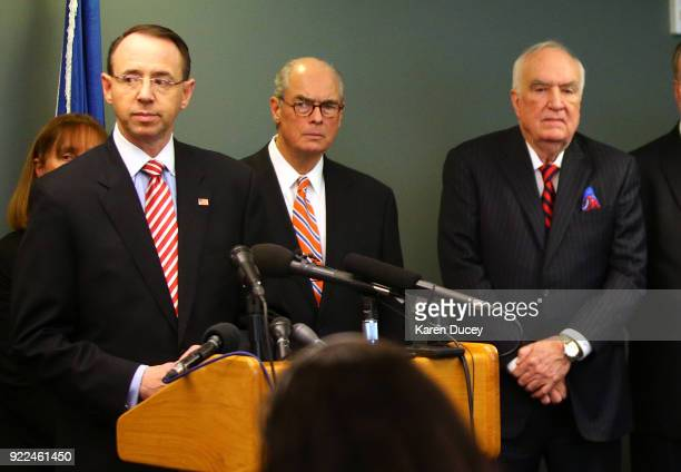 S Deputy Attorney General Rod Rosenstein along with Mike McKay National Association of Former US Attorneys and US Attorney Hal Hardin speaks at press...