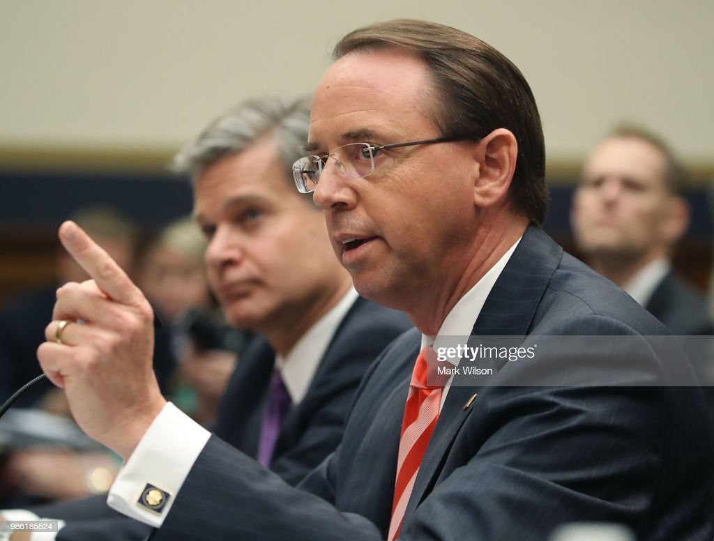 Rod Rosenstein And FBI Director Wray Testify At House Hearing On 2016 Election