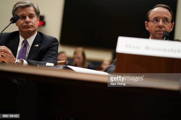 S Deputy Attorney General Rod Rosenstein and FBI Director Christopher Wray testify during a hearing before the House Judiciary Committee June 28 2018...